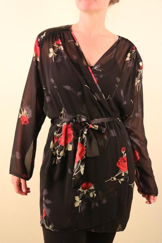 1980's Black Rose Print Mesh Sexy Short Robe Bath… - image 2