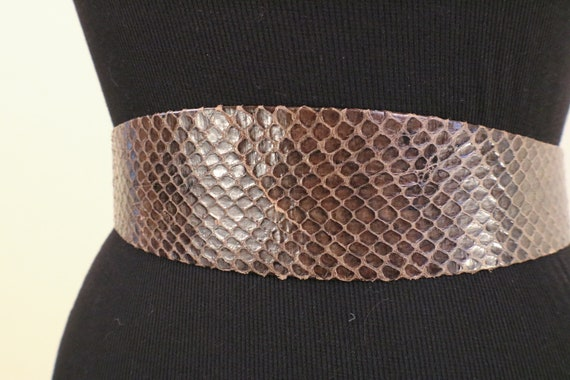 80's Snake Skin Adjustable Statement Belt - image 7