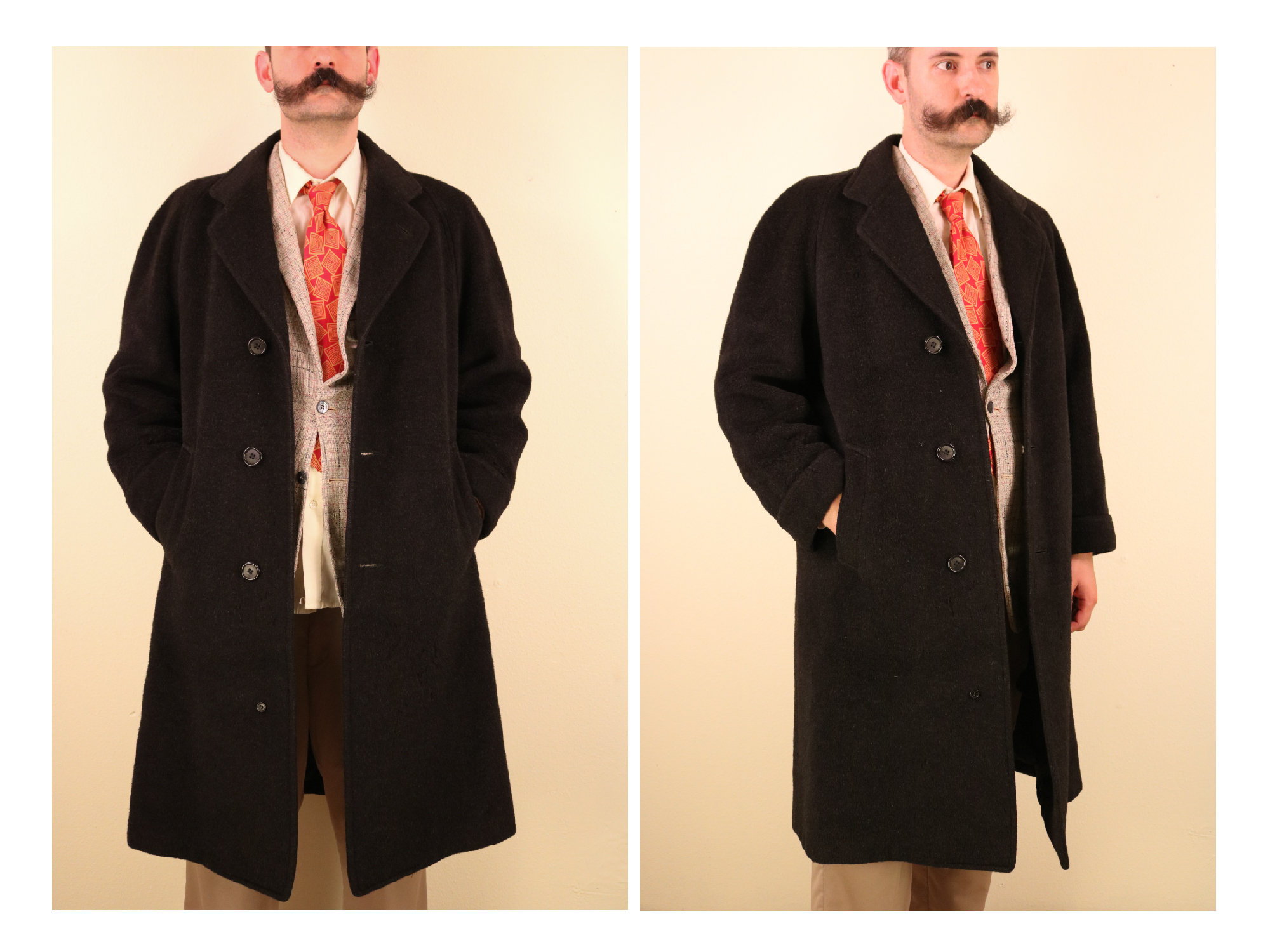 New 1930s Mens Fashion Ties 1930s Heavy Wool Mens Overcoat With Convertible Pockets Halle Bros Co Mens Menswear Vintage Big  Tall War Era Wwii Rare $0.00 AT vintagedancer.com