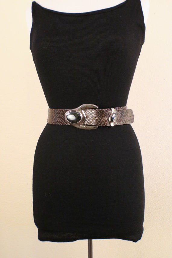 80's Snake Skin Adjustable Statement Belt - image 1