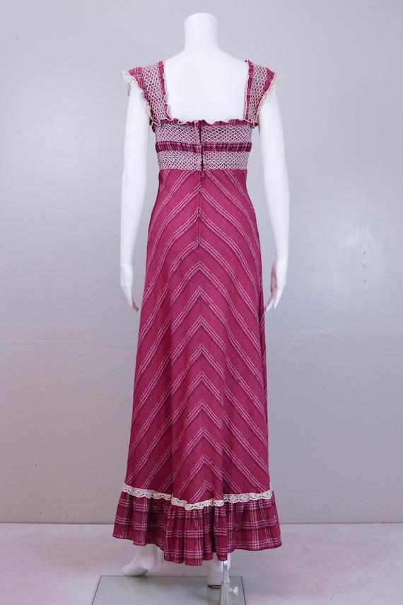 70's Maroon ' Gunne Sax' Style Maxi Prairie Dress - image 3