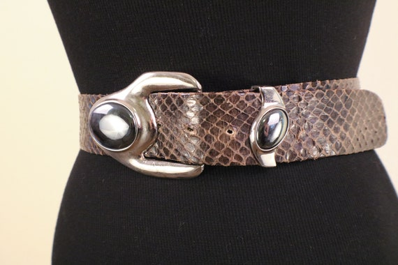 80's Snake Skin Adjustable Statement Belt - image 2