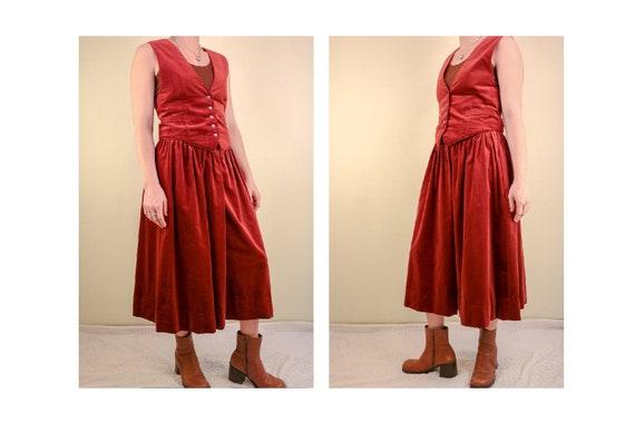 70's Rust Velvet 2 piece set Vest and Skirt Boho B
