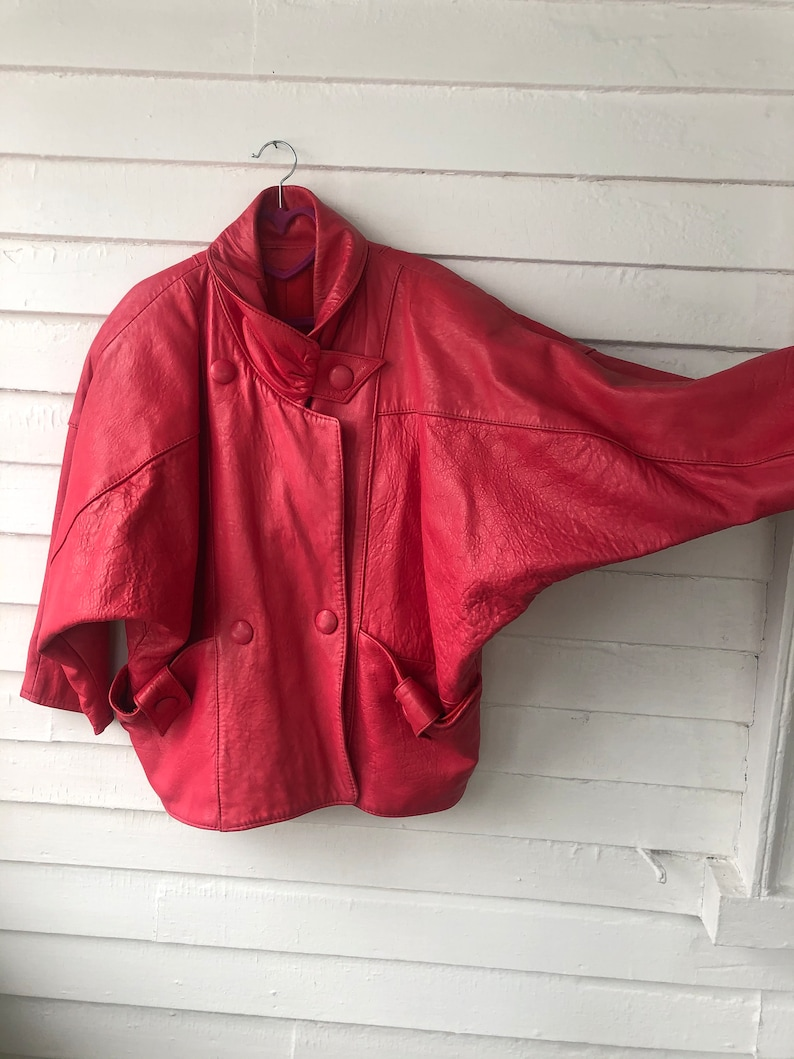 80s Barbie Lipstick Pink Batwing Oversize Soft Leather Jacket with Accent Buttons