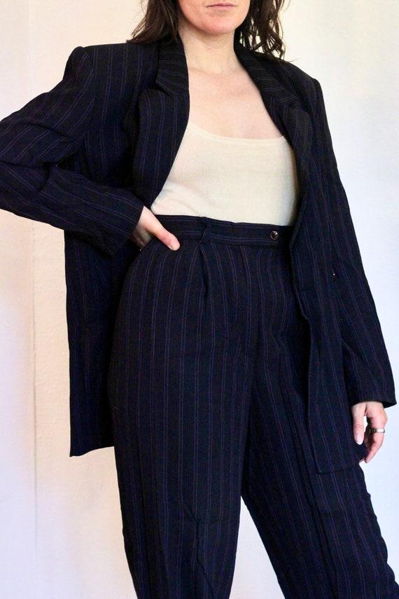 90s Loose Fit Pinstripe Pant Suit