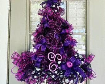 Witch hat wreath, halloween wreath, purple and black wreath