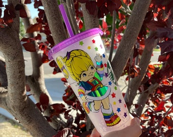 Rainbow Brite Starbucks cup/LIMITED confetti Starbucks cup/80s cartoon/Bow Straw Topper(SOLD SEPARATELY)/free name personalization