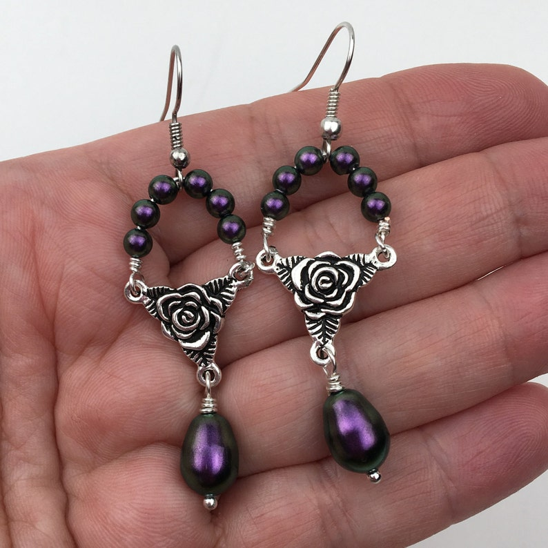 Rosary Drop Earrings Pearl Dangle Earrings Purple Wedding Jewelry Chandelier Bridal Earrings