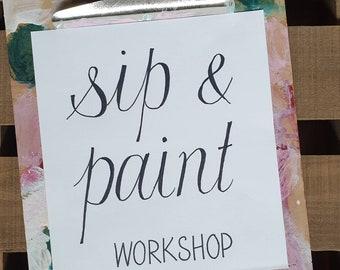 Sip & Paint Workshop sign, Art Studio sign, printable door signs for Artists, Studio Wall decor, Printable signs for artists, art wall print