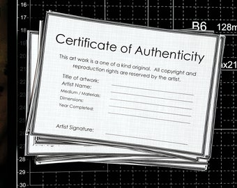 Certificate Of Authenticity Template For Original Artwork