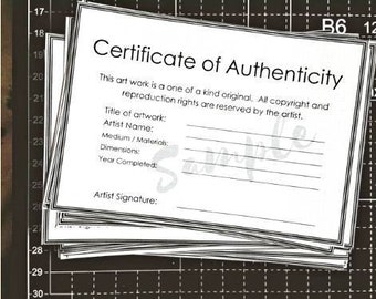 Certificate of Authenticity Template for original artwork, (4 on A4 size page plus 'Letter' size for USA artists)