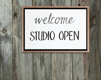 Art Studio Welcome sign, Artists Studio Open sign, printable door signs Artists, Studio Wall decor, Printable signs for artists, Artist gift