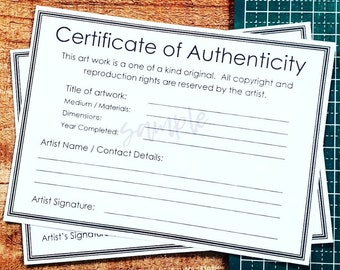 Modern Certificate of Authenticity /COA for original painting, with room for artist contact details ('Letter' size for USA artists, plus A4)
