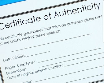 Modern Certificate of Authenticity Template for Artists for Fine Art Prints, Open edition. A4 size (plus 'Letter' size for USA artists)