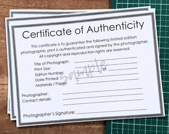 Certificate of Authenticity PDF for Photographic Prints / Fine Art Photography with room for Photographer / Artist details
