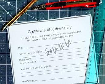 Certificate of Authenticity Template for sculpture artists, printable PDF digital download. 3D art / ceramics / wood / metal work artists.
