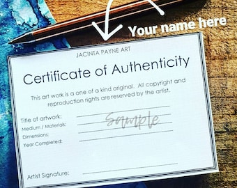 Modern Customised Certificate of Authenticity for Artists & photograpers, for original art works / paintings, fine art / photographic prints