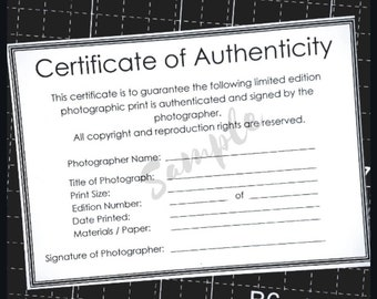 Certificate of Authenticity Template for Photographers.  Authenticity Certificate PDF for Photographs, Limited edition Photographic Prints.