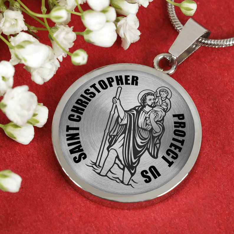christopher necklace St Christopher medal Available in Gold and Silver