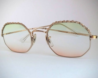 25895c07f0 Art Craft Non-Prescription Vintage Octagonal Eyeglasses with Hand-Tinted  Lenses  Ready-to-Wear