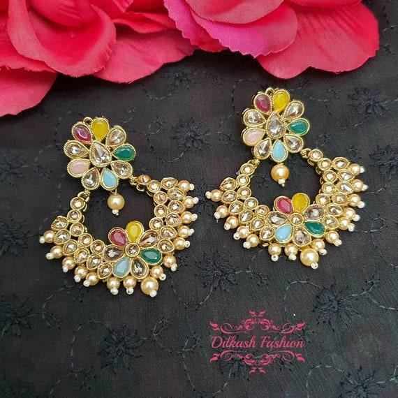 Pakistani Indian Punjabi Gold Pearl Polki Studs Earrings Dilkash Fashion Jewelry Bollywood