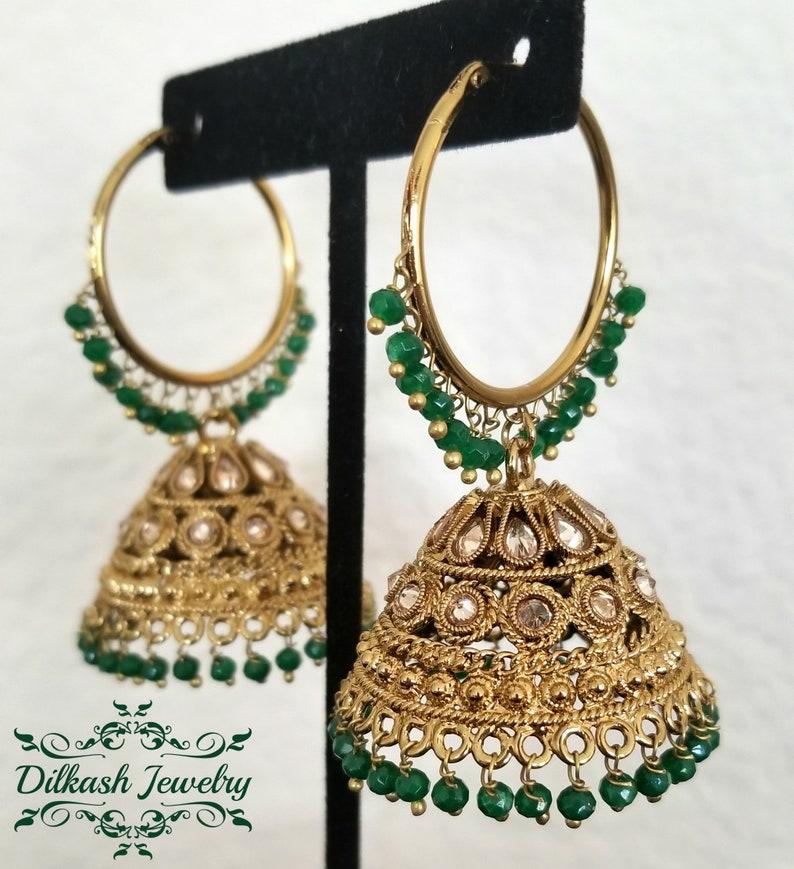 Pakistani Indian Punjabi Gold Polki Pearl Red Jhumki Jhumka Baali Waali Earrings Pink Green Turquoise Purple White Black