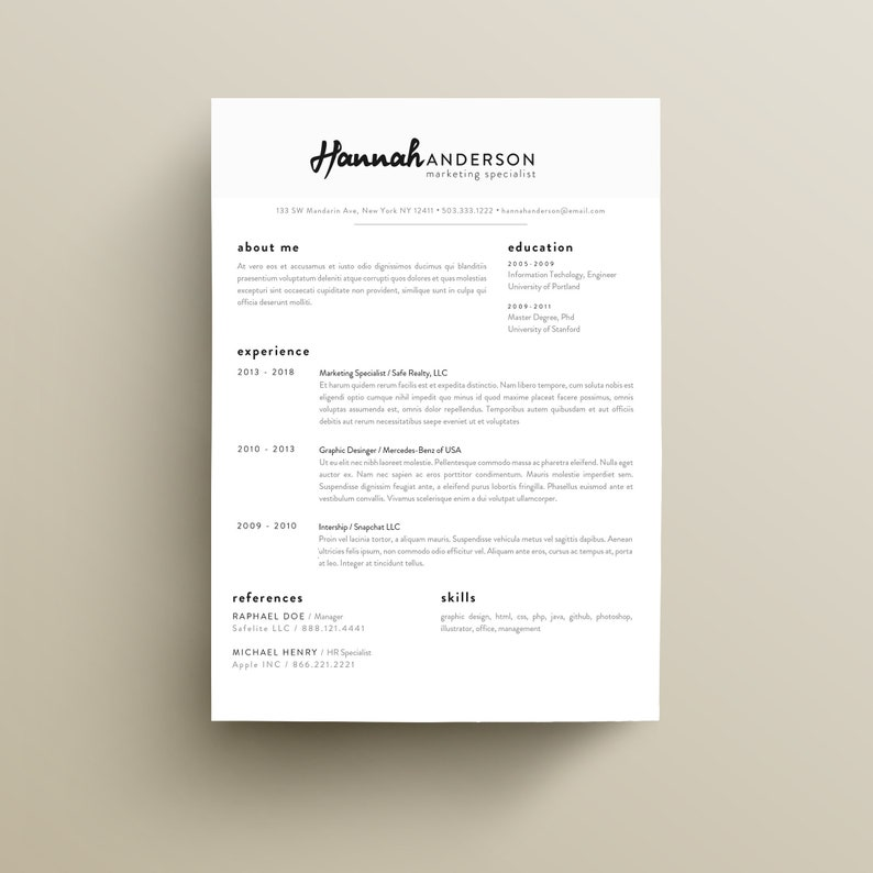 Professional Resume CV Template Clean And Eye Catching