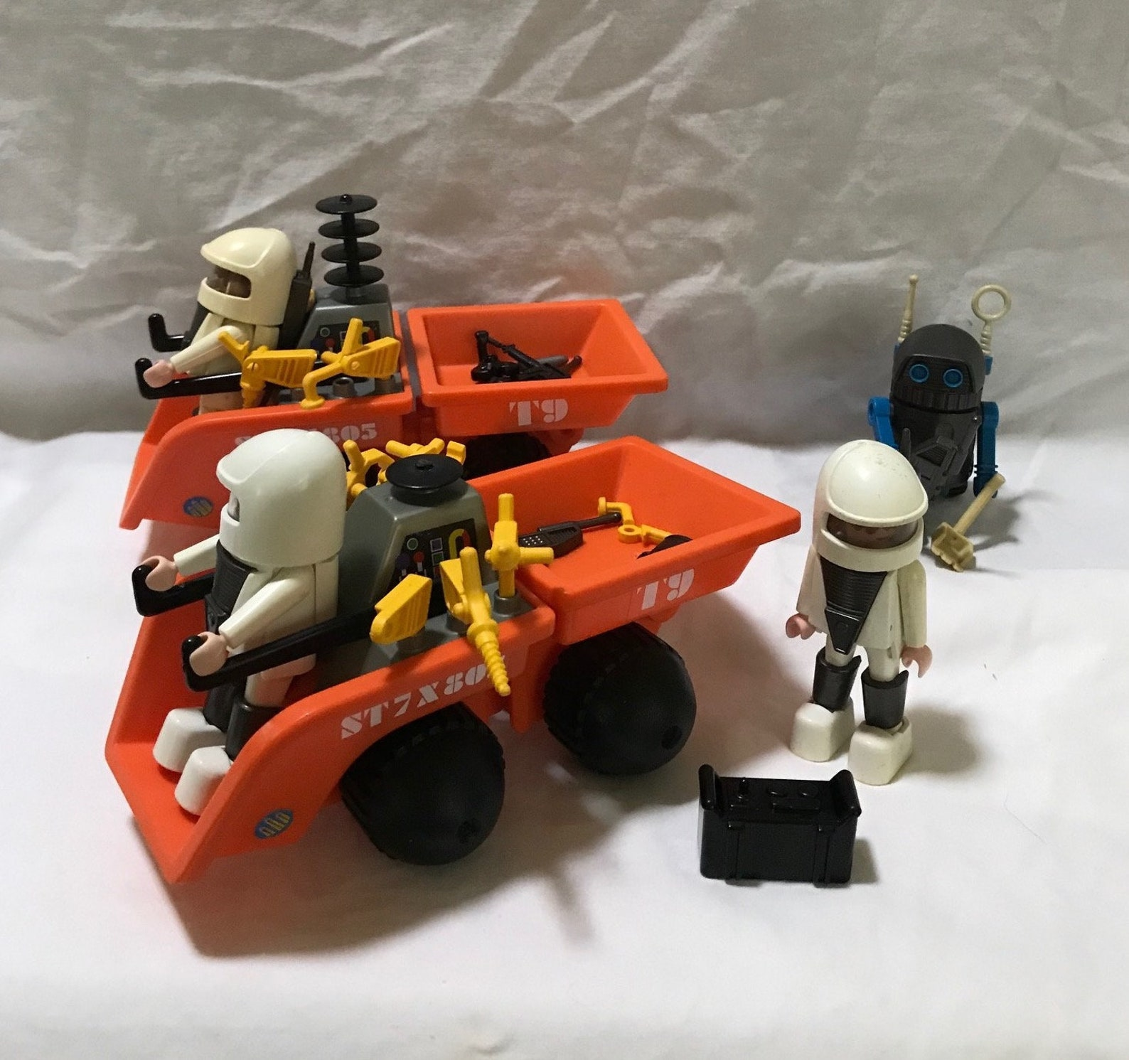 Vintage 1982 Playmobil Moon 2 Orange Vehicles With 3 Spacemen in White With a Robot and Accessories Playmobil Space Set