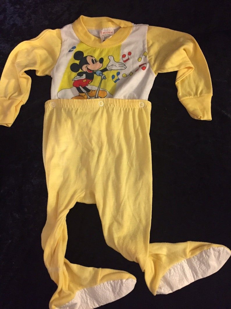 7f4825e79df0 Vintage Sears Yellow Baby PJs Disney Pajamas Mickey Mouse