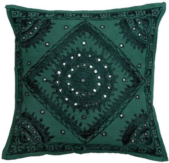 Pleasant Green Decorative Throw Pillows 16X16 Handmade Mirror Work Pillow Outdoor Pillow Covers Decorative Sofa Pillow Couch Pillows Toss Pillow Ibusinesslaw Wood Chair Design Ideas Ibusinesslaworg