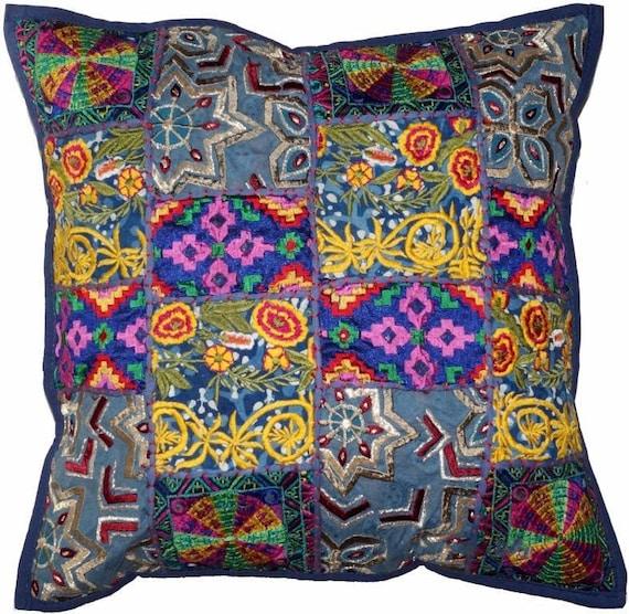 "Indian Cotton Set of 3 Handmade Bohemian Hippie Cushion Cover 16X16/"" Zari Work"
