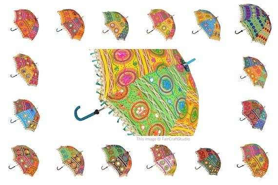 Indian Cotton Parasol Elephant Embroidery Women Sun Protect Wholesale Umbrellas