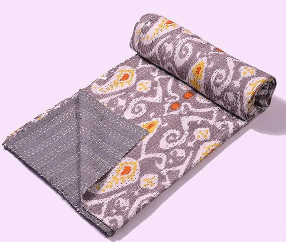 ON SALE Queen Ikat Quilt Blanket In Gray Paisley Kantha Quilt Throw Bedspread