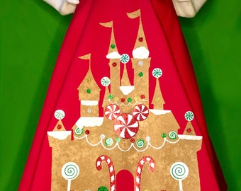 Gingerbread Magic Castle A-line Skirt with Glitter Candy Appliqué and Pockets