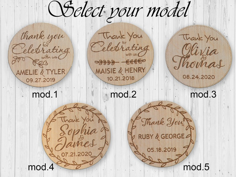 Thank you Wedding favor for guest Personalized Wood magnet Rustic Wedding Thank You Gift Shabby wedding favors