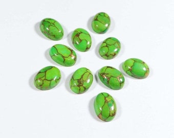 Green Mojave Turquoise Oval Cabochon Loose Gemstones Set of 2 1A Quality 10x8mm TGW 4.50 cts.