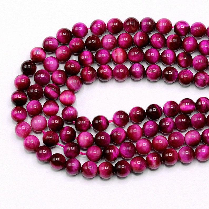 15 Full Strand 8MM Pink Tiger Eye Beads Round Smooth Natural Gemstone Beads 8mm