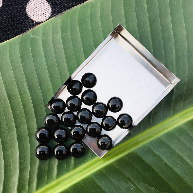 Semiprecious Gemstone Calibrate Lot of 50 Pieces 5x5 mm Natural Black Onyx Cabochon 5x5 mm Round Shape Cabochon,Smooth Polished