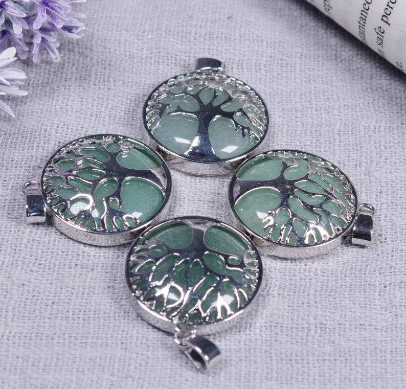Wholesale Tree of Life round edging pendantPolished Green AveniturineTree of KnowledgeFamily TreeGiftDecorChakraHealing Crystal