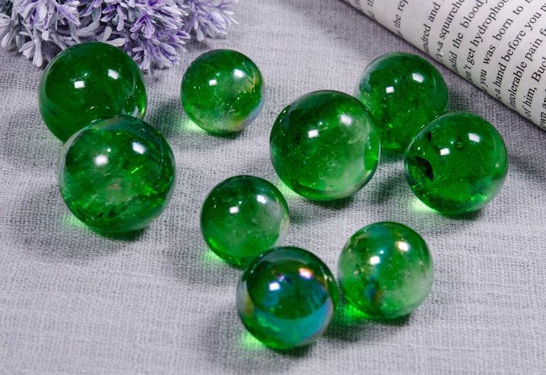Wholesale Beautiful Green Aura Clear Crystal SphereNatural Gemstone Round CrystalJewelry MakingCollectionDecorGift