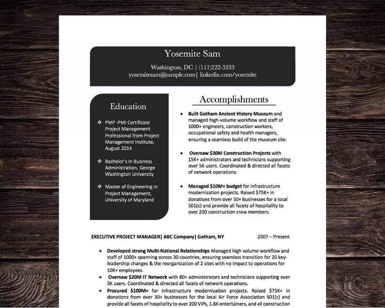 Project Manager Resume Cv Template Microsoft Word Instant Download Dark Brown