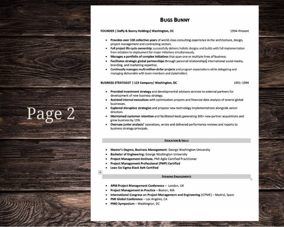 Project Manager Resume Cv Template In Black And White