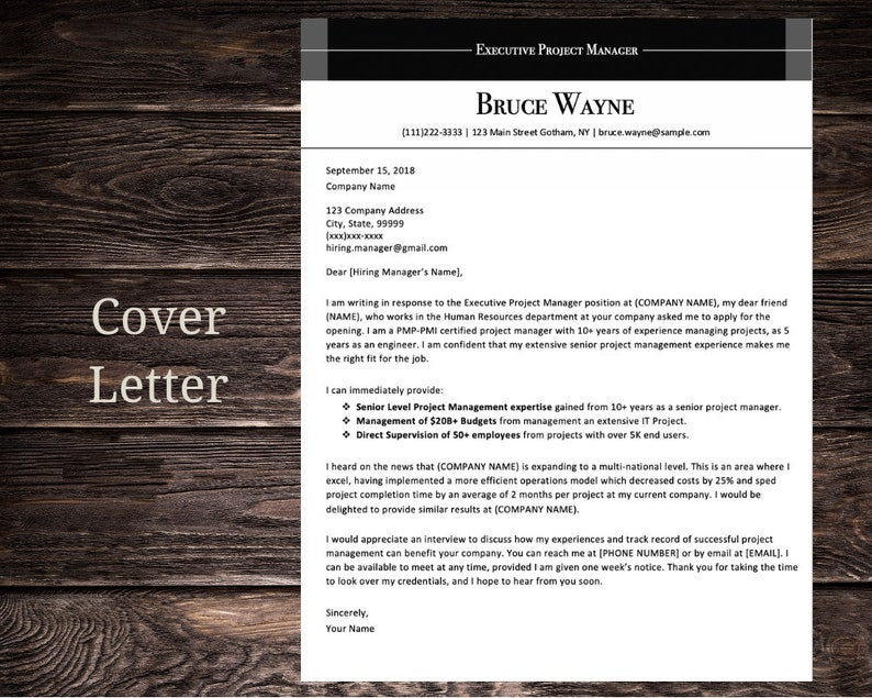 Executive Project Manager Resume CV Template | Microsoft Word | Instant  Download | Black and White