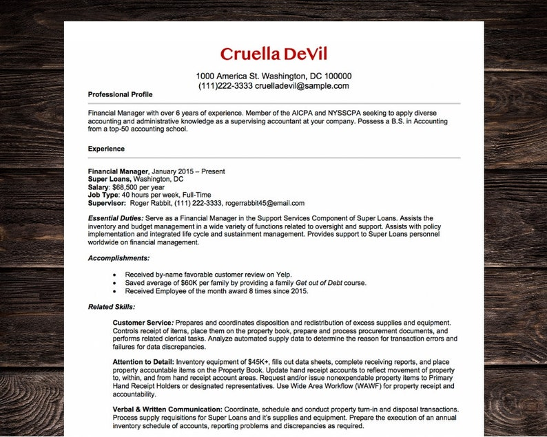 Federal Resume Template | Administrative Assistant | Microsoft Word |  Instant Download | Red