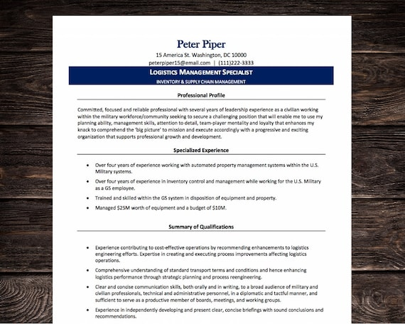 Federal Resume Template | Logistics Military | Microsoft Word | Instant  Download | Blue | eBook Guide
