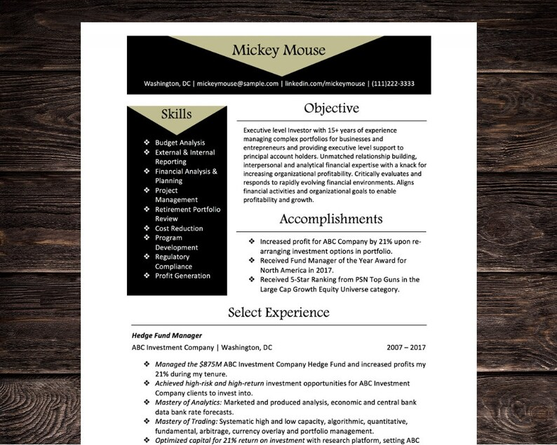 Executive Financial Resume Cv Template Microsoft Word Instant Download Black And Tan