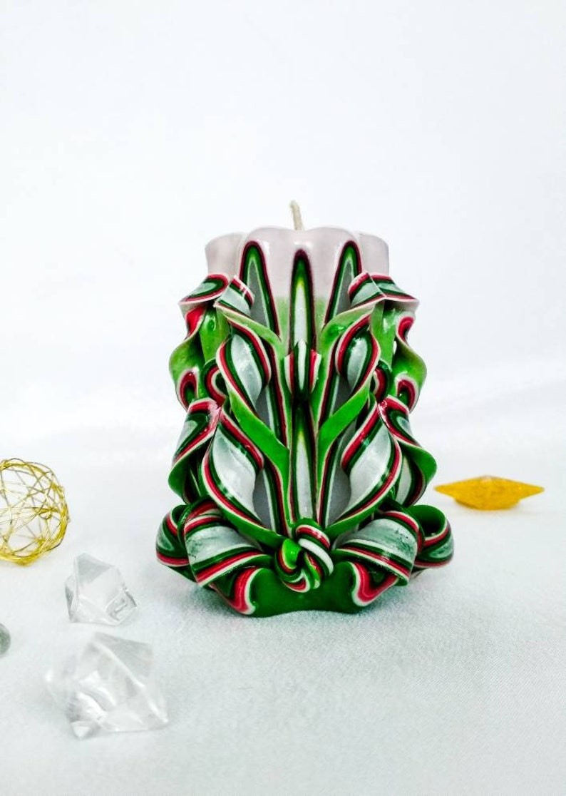 Small green carved candle was made for st Patrick/'s day.
