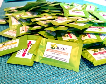 Moisturizing Product Samples, 25 Sample Packs, Whipped Shea Butter, Handmade Lotion & Salt Scrub by Amiyah Natural Products