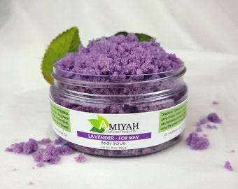 Exfoliating Body Scrub For Men 8 oz, Hand Scrub and Foot Scrub, Men Skin Care, Fathers Day Gift, Anxiety Relief by Amiyah Natural Products