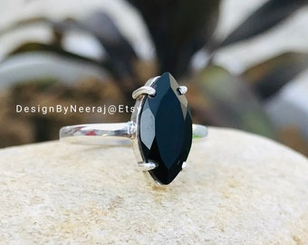 Black onyx gemstone ring,black onyx jewelry,gemstone ring,handmade ring,promise ring,gift for her,boho rings,bohemian ring,girlfriend ring,